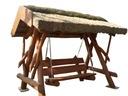Huśtawka ogrodowa z drewna z daszkiem ze strzechy