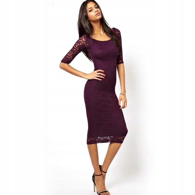 80da6176ed Sukienka wieczorowa koronkowa bordowa czarna XXL 7672925313 - Allegro.pl