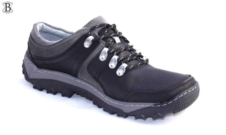 Obuwie trekkingowe czarne polskie buty skórzane 278