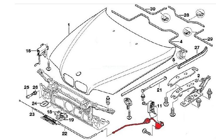 авторазборка трос маски механизм люка двигателя Bmw E39 Bmw из польши
