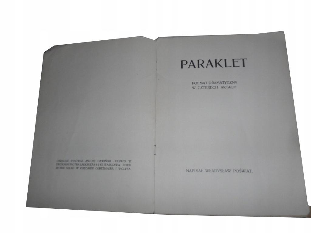 Paraklet Poemat Dramatyczny Wł Poświat Unikat