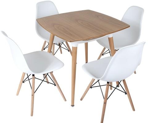 Zestaw Stół 80 X 80 4 Krzesła Białe Nowoczesne