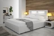 Łóżko tapicerowane stelaż pojemnik 160x200 LED