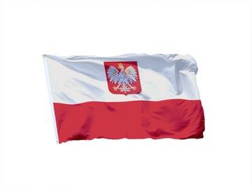 Флаг россия с гербом 150x90 Польский герб Russia доставка товаров из Польши и Allegro на русском