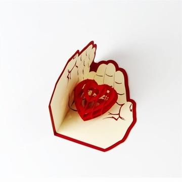 Сердце в Руках Открытка 3d Любовь день святого Валентина Подарок доставка товаров из Польши и Allegro на русском