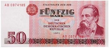 Германия DDR - КУПЮРА - 50 Марок 1971 Года - Состояние UNC ! доставка товаров из Польши и Allegro на русском