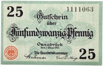 Osnabruck - БАНКНОТЫ - 25 Pfennig 1917 - Состояние UNC ! доставка товаров из Польши и Allegro на русском