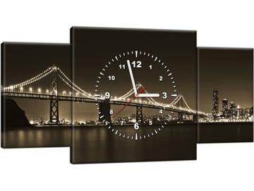 Часы настенные 80х40 Городской мост в гостиную Картина