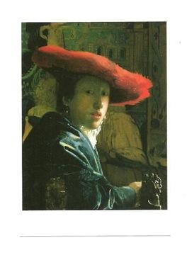 Открытка - Вермеер, Женщина в красной шляпе