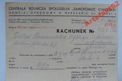 WARSZAWA SAMOPOMOC CHŁOPSKA RACHUNEK 1949