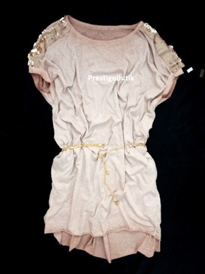 185265bd52 Włoska pudrowa sukienka z falbaną - r. S M 6798993564 - Allegro.pl