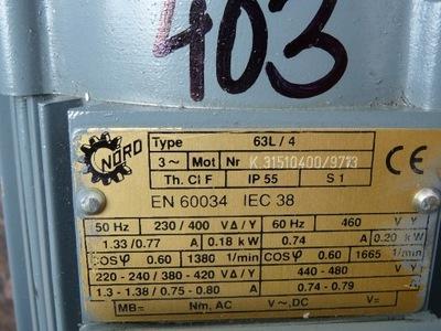 MOTOREDUKTOR NORD 0,18kw 59obr/min - NOWY - F.VAT