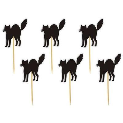 Dekoracja ozdoba piker HALLOWEEN koty czarne 6 szt