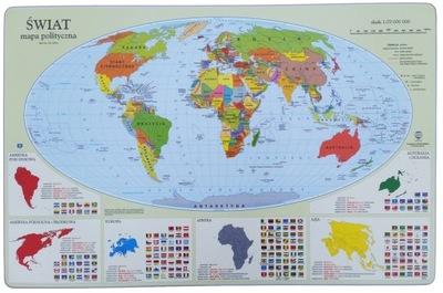 Zošit, príslušenstvo - Stolová podložka - mapa politických stránok + údaje