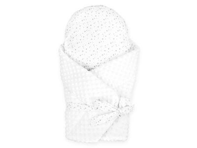 Krstiny - Súprava kužeľovej deky + vankúš biela minky 2v1