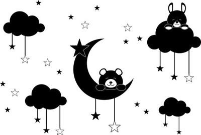 NÁLEPKY NA STENY nesú mraky mraky hviezdy mesiac!