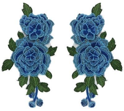 комплект полоса синяя роза цветы вышивка - 2шт