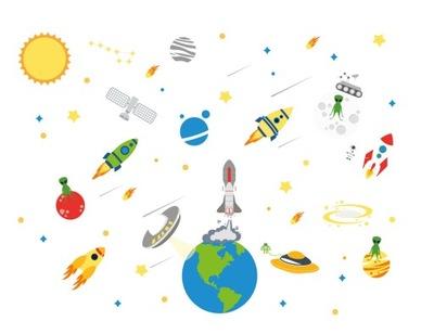 Fototapeta COSMOS ufo planet rocket! XXL
