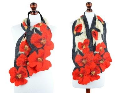 Романтичный и женственный instagram шаль с маками, войлок