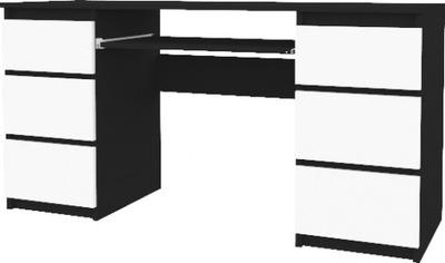 POČÍTAČ, písací STÔL 130 CM 6 ZÁSUVIEK BLACK WHITE