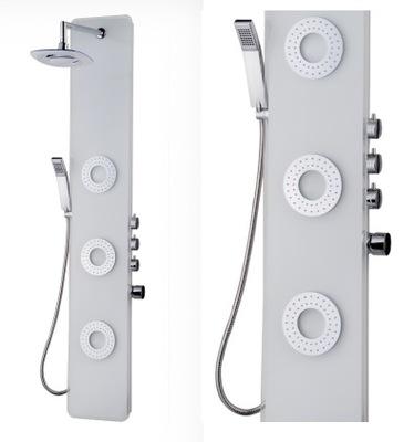 Sprcha - Sprchový panel bielou sklenenou hydromasážou