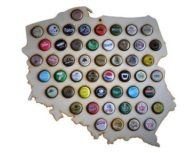 польский  карта на колпачки beer cap map с пивом мини