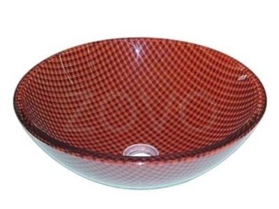 D148 Mriežka červená 42 cm, sklenené umývadlo ZOVO