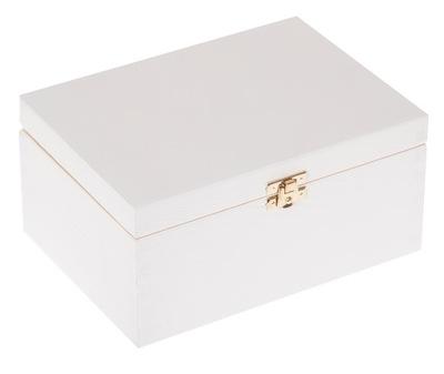 Úložný box - DREWNIANE PUDEŁKO 22x16x10,5 szkatułka BIAŁE eko