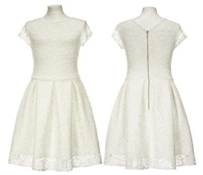 f33d6a4076 Koronkowa sukienka ECRU 140 cm klasyczna 9-10lat - 6834978668 ...