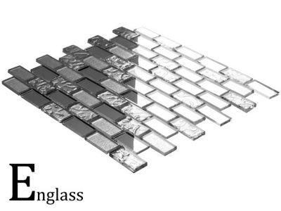 Мозаика стеклянная серебряная Кирпич MIRROR микс плюс
