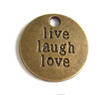 [107248] Zawieszka moneta 'live laugh love' brąz