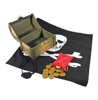 Drevené pirate hrudníka s Pirát príslušenstvo