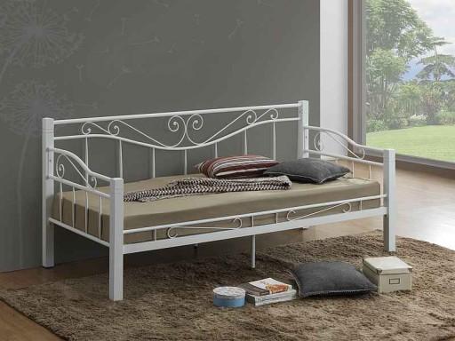 łóżko Metalowe łóżka Kenia 90x200 Białe Stelaż Dom