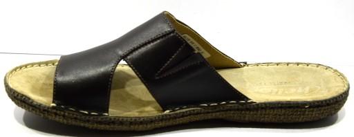 Klapki męskie obuwie letnie brązowe skóra 805 R.40 8922464583