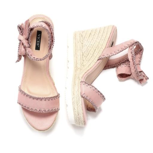 196d464bf1c7a Różowe sandały damskie na koturnie VICES r. 40 (6845962599 ...