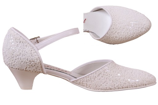 21b72ca8876901 buty białe KAWIOR, PEREŁKI, KORONKA niski obcas 36 7139957729 ...
