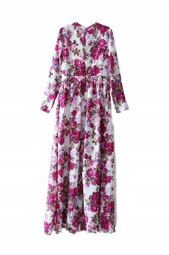 41eacb9f7f Sukienka długa maxi kwiaty rozkloszowana S 36 7695631323 - Allegro.pl