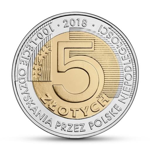 Moneta 5 zł Niepodległość - 100 lecie odzyskania