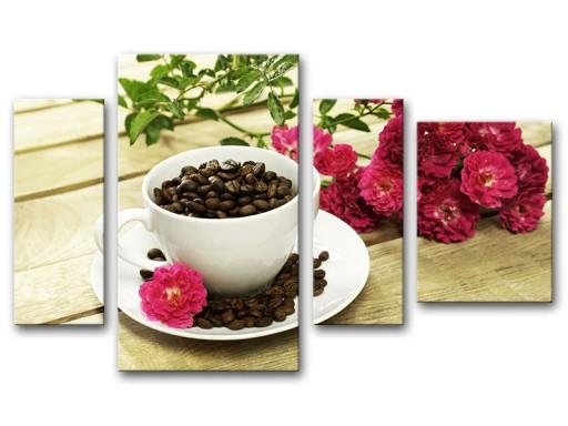 Obraz Obrazy Do Kuchni Tryptyk Kawa Róże 110x70