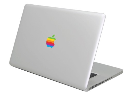 Naklejka laptop Apple MacBook retro logo rainbow