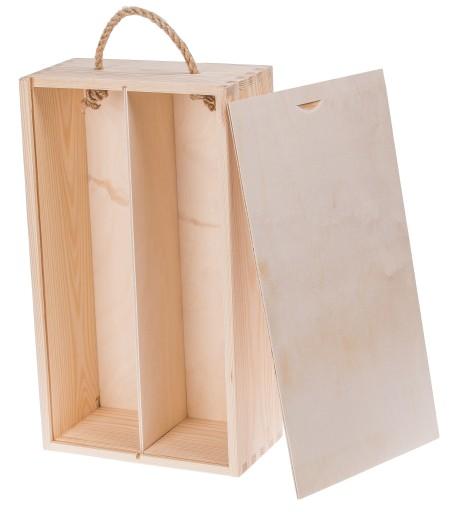 Cudowna Drewniane PUDEŁKO SKRZYNKA na wino prezent ślub 6589170026 GC42