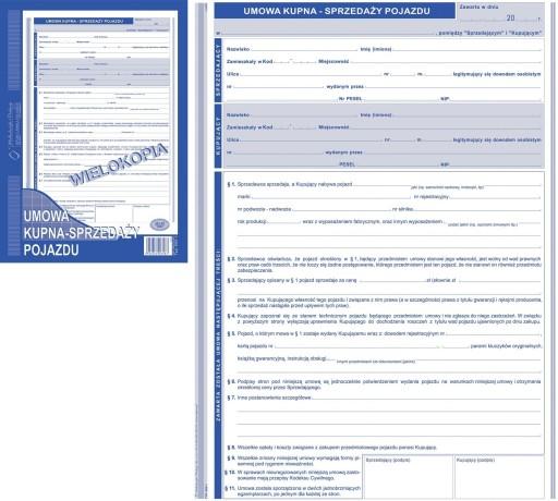 Druk Umowa Kupna Sprzedazy Pojazdu A4 650 1 6457819956 Allegro Pl