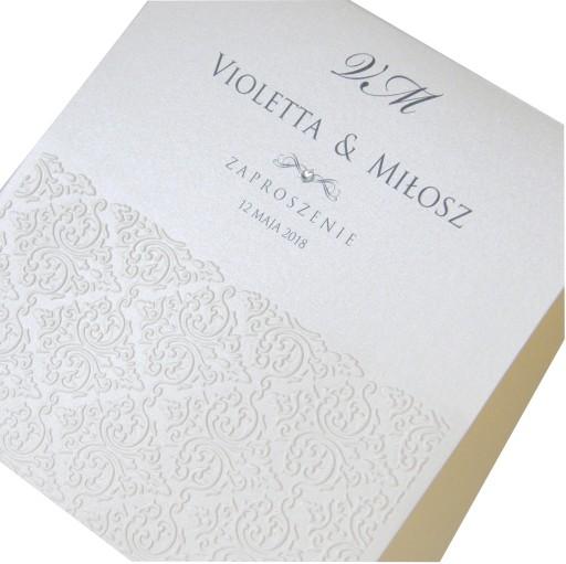 Zaproszenia ślubne Na ślub Cywilny Perłowe Próbki 7608346961