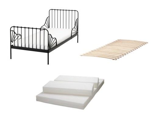 Ikea Minnen łóżko Rosnące Czarne Materac Plutten