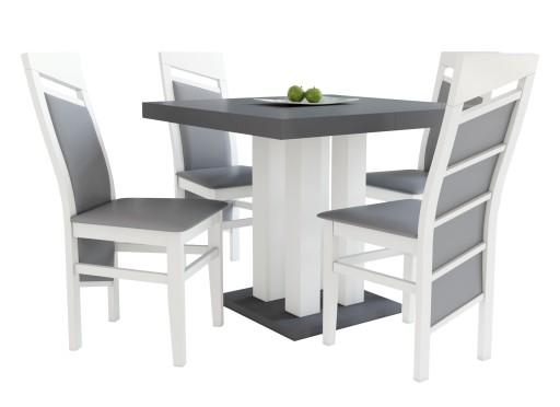 Kwadratowy Stół 90x90 Rozkładany Do 225 4 Krzesła 7117234428