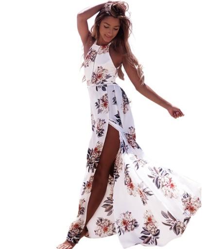Maxi Sukienka Dluga Zwiewna Wiazana Plecy Xl 7958477838 Allegro Pl