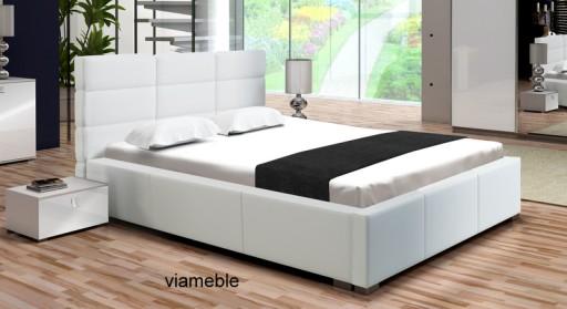 łóżko Małżeńskie Białe 160 X 200 Stelaż Pojemnik