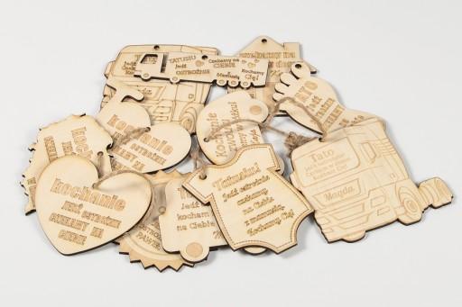 Zawieszka Jedź Ostrożnie SERCE drewniane GRAWER