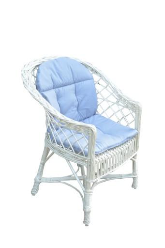 Fotel Wiklinowy Biały Poduszka 2 Kolory
