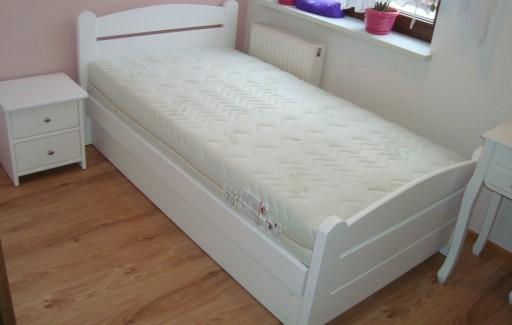 łóżko Drewniane Białe Z Pojemnikiem łukowe 90x200